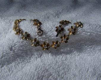 Vermeil Gold Over Sterling Silver Flower Panel Rhinestone Bracelet