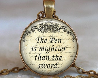 The pen is mightier than the sword necklace, writer's necklace, writer's gift, quote jewelry, quotevnecklace key chain key fob