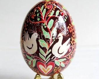 Love birds Pysanka- Ukrainian Easter egg - chicken egg shell hand painted batik style
