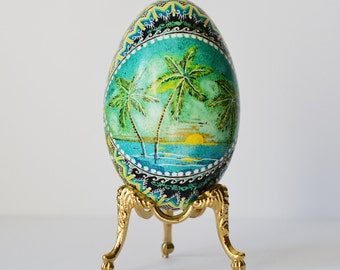Goose egg Pysanka with palms and ocean Florida vacation, Caribbean paradise