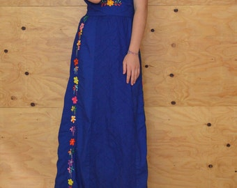 Vintage 70's Blue & Rainbow Floral Embroidery Summer Maxi Halter Dress SZ S/M