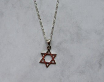 Jewish Star of David, Simple Star of David Necklace, Mens Star Necklace with Sterling Silver Figaro Chain, Mens Necklace, Jewish Necklace