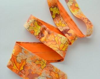 Orange maple leaf necktie autumn colors copper accents, fall wedding groom tie