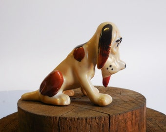 Vintage dog statue Hound dog figurine statue Japan sitting dog tongue out