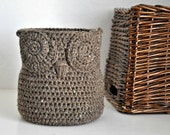 Rustic Brown Owl Basket Crocheted Bin Yarn Holder Woodland Nursery Decor Home Organizer