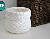 White  Basket Catchall Storage Bin Modern Decor Contemporary Design