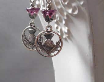 Outlander Jewelry - Scottish Thistle Earrings - Reign Jewelry - Gift for Her - February Birthday - Woodland Jewelry - Womens Jewelry