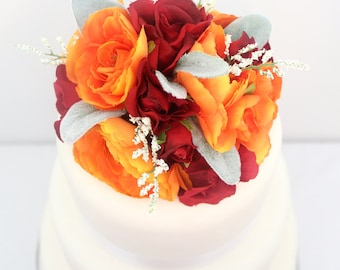 Wedding Cake Topper - Fall Inspired Orange Ranunculus, Red Rose, Lambs Ear Silk Flower Cake Topper, Wedding Cake Flowers, Fake Flower Topper