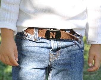 Brown Belt, Initial Buckle, Military Slider Belt, Child Belt, Toddler, Boy, Girl, School Belt, Church Dress, Personalized, Birthday Gift