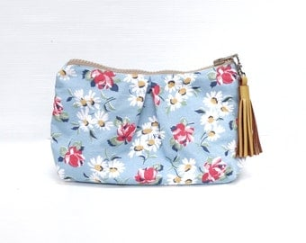 Baby Blue Spring Floral Cosmetic Make Up Bag, Travel Make Up Pouch, Cosmetic Case, Zippered Purse