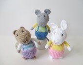 Fluffy, Sniffles and Squeaker toy knitting patterns