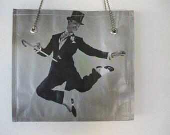 Fred Astaire / James Cagney/  Charlie Chaplin / Women's Tote, Made of Laminated Recycled Paper , Size Med/ Handcrafted/ Free Shipping USA