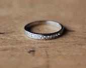Vintage platinum diamond wedding stacking band ∙ platinum half eternity band