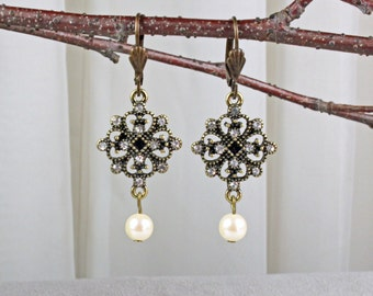 Antique Brass and Pearl Earrings - Antique Brass Earrings - Victorian Earrings