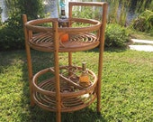 RATTAN BAR CART Round Rolling Bar Cart with Casters, Bamboo Bar Cart, Boho, Mid Century, Beach, Tropical Bar, Tiki Bar at Modern Logic
