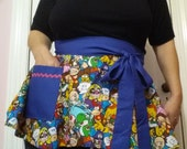 Mario fabric made into an Apron Ready to Ship Nintendo Fandom Apron Cocktail Happy Hour Sexy Pin Up Apron