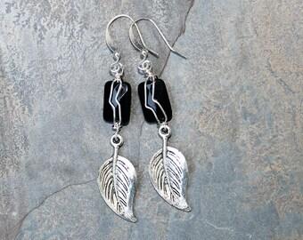 Wire Wrapped Earrings, Black Onyx Earrings, Leaf Earrings, Fall Earrings, Autumn Earrings, Natural Stone Earrings, Handmade Dangly Earrings