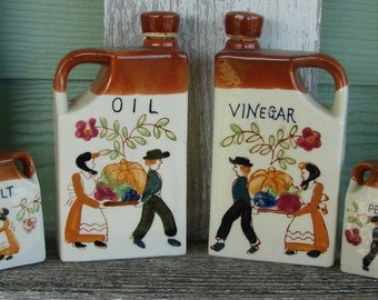 Vintage Oil Vinegar Salt and Pepper set made in Japan