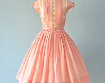 Vintage 1950s Day Dress...Sweet Semi Sheer Pale Rose Garden Party Dress Day Dress Small