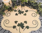Wool Applique Pattern, Irish Clover, Wool Candle Mat, Penny Rug, St. Patrick's Day, Irish Decor, Cath's Pennies Designs, PATTERN ONLY