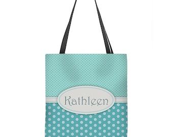 Personalized Tote Bag, monogram tote, aqua tote bag, market bag, shopping bag, beach tote, bridesmaid gift, book bag, gift for her, carryall