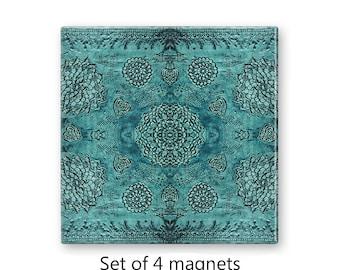 Bohemian magnets, refrigerator magnets, fridge magnet set, set of 4 decorative magnets, boho decor, large magnets, teal magnets