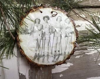 Sweet Vintage Ski Gals - Vintage Ski - Christmas Ornament - Ski Decor - Gift Tag - Ski Team - Ski Women - Ski Gift