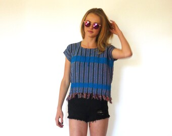 70s Blue Striped Ethnic Fringe Boxy Sweater Tee xs s m