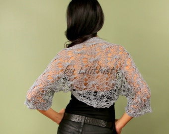 Bridal Bolero Wedding Shrug, Bridal Cover Up, Glitter Grey Knit Bolero, Crochet Shrug, Loose Knit Shrug, Summer Shrug, Evening Shrug