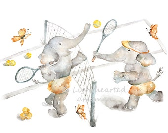 Elephant Nursery Print, tennis nursery, Watercolor Print, Sports Nursery Art, Elephant Print, Kids Wall Art, Toddler, Baby Boy Nursery Art