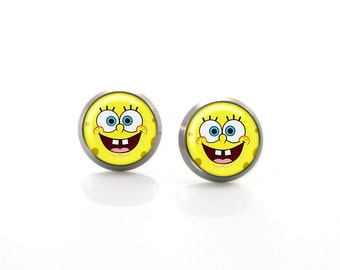 Sponge Bob Titanium Post Earrings | Hypoallergenic Sensitive Stud | Titanium Baby Stud Earrings | Funny Girls earrings | Children Earrings