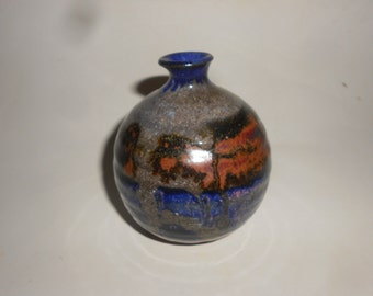 Raku Weed Vase/Twig Jar Eames Era Pottery Multi-Hued Glaze Studio Made and Artist Signed Vintage Mid Century
