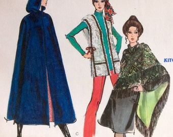 Vogue Vintage Sewing Pattern 1970's Misses Hooded Cape Vest Shawl Size Small Outerwear Uncut