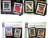 Vintage Seed Packets Cross Stitch Leaflets, June Grigg Dated 1995, Watermelon, Carrot, Sweet Corn, Radish, Pumpkin, Celery, Cucumber, Pepper