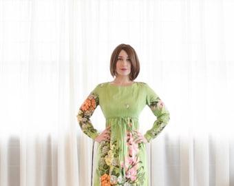 60s Floral Dress - Vintage 1960s Garden Party Dress - Green Thumb Dress