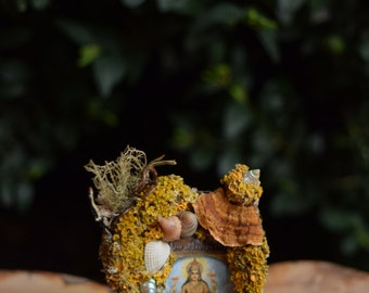 Tiny Handmade Miniature Hanging Woodland Lakshmi Picture - Faery House, Goddess, Prosperity