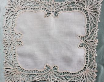 Antique White Battenburg Lace Bridal Wedding Handkerchief