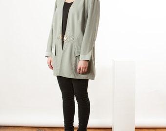 Pleated Long Sleeve Cardigan / Silky Mint Vest / Vintage Draped Cardigan
