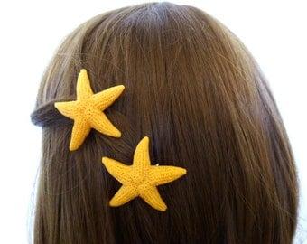 Fake Starfish Hair Accessories Girls Clips Mermaid Barrettes Sea Stars Animal Friendly Artificial Faux Nautical Beach Ariel Costume Summer