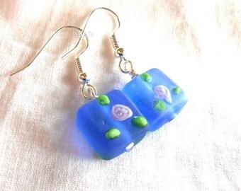 Lampwork Earrings Indigo Earrings Rose Earrings Shabby Earrings Frosted Glass Earrings Bright Silver Earrings Square Earrings Sea Glass