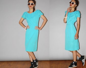 1950s Vintage Designer  Jonathan Logan Rockabilly Turquoise Fringe Cotton Wiggle Dress - Vintage 50s  Pin Up Dress  - WD0881