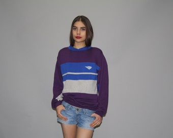 1980s Vintage Pony Purple and Blue Colorblock Sweatshirt  - Vintage 80s Sweatshirt  - 80s  Sweatshirts - WT0452