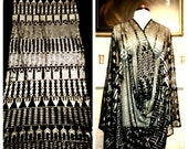 1920s Assuit Shawl. Sparkling Silver on Black. Excellent Condition. Art Deco. Egyptian Revival.