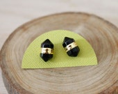 Black Onyx Double Terminated Gold Stud Earrings/ Black Simple Delicate Gemstone Stud Post Earrings/ Minimal Simple Natural Stone (GST19)