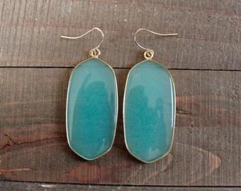 Gold Mint Chalcedony Elongated Stone Drop Earrings/ Large Gemstone Earrings/ Mint Green Chalcedony Stone/ Chandelier Drop Dangle (EGG10-MC)