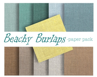 BURLAP TEXTURES Paper Pack- Digital Download Printable Papers-  Backgrounds, Wallpaper - Beach Blues and Tans - 11  12x12  -paper crafts
