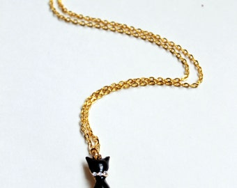 Black Cat Gold Necklace Ladies Jewelry Womens Jewelry Animal Inspired Jewelry Whimsical Jewelry Gold Necklace
