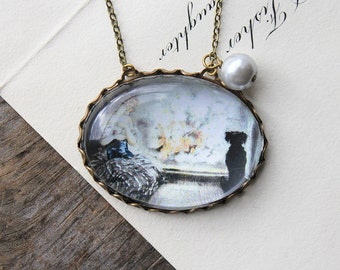 Cinderella Necklace (magnifying pendant. art book illustration. fairytale jewelry. antique whimsical jewellery)
