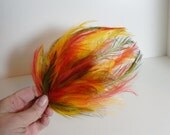 Vintage Hat Fascinator Feathers Headpiece Vintage Millinery Mid Century Fashion Yellow Olive Hot Pink