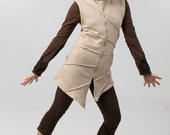 Pixie Hood Cotton Fleece Vest - Magic Elf  Vest - Cozy  Winter Wear - Star Burst Hoodie Waist Coat - women's clothing - burning man